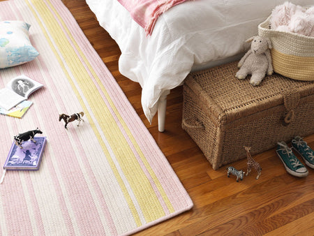 Frazada Stripe FZ79 Pale Pink/Yellow Braided Wool Rug by Colonial Mills - Select Area Rugs