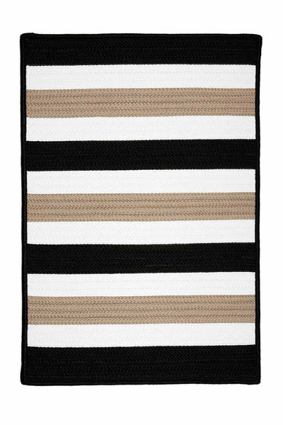 Portico PO49 Sharp Black Braided Striped Outdoor Rug by Colonial Mills
