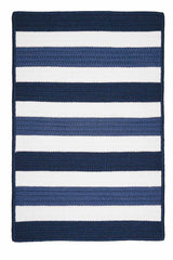 Portico PO59 Nautical Blue Braided Striped Outdoor Rug by Colonial Mills