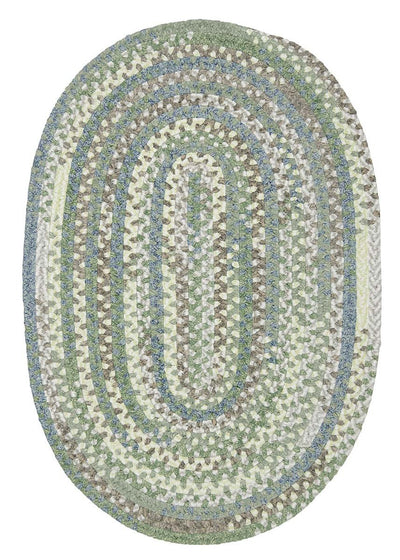 Rag-Time Cotton Blend Braided Rug RR41 Sea Foam Braided Rug by Colonial Mills