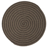 Brown Round Wool Braided Rug