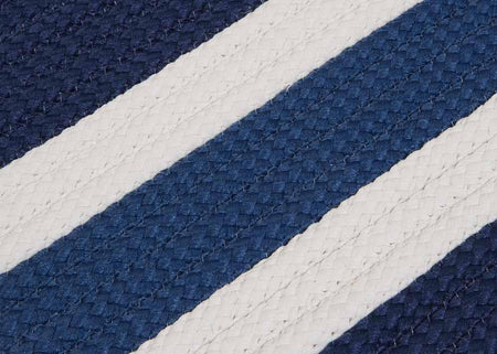Portico PO59 Nautical Blue Braided Striped Outdoor Rug by Colonial Mills - Select Area Rugs