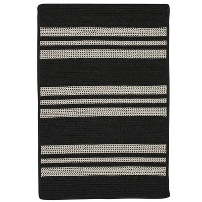 Sunbrella Southport Stripe UH19 Black Braided Rug by Colonial Mills