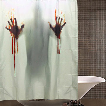 Limited Edition White Horror Movie Shower Curtain With Bloody Handprints  And Silhouette