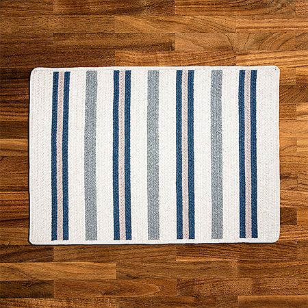 Cream & Blue Cotton Braided Rug With Stripes | Limited Edition Polo Street Collection - Select Area Rugs