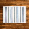 Cream & Blue Cotton Braided Rug With Stripes | Limited Edition Polo Street Collection