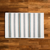 Cream, Gray, Brown & Teal Striped Braided Wool Rug | Limited Edition Polo Street Collection