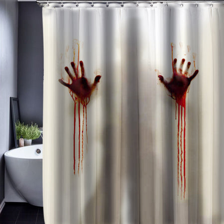 Limited Edition White Horror Movie Shower Curtain With Bloody Handprints and Silhouette - Select Area Rugs