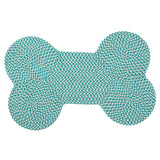 Dog Bone Hounds-tooth Bright OT57 Turquoise Braided Rug by Colonial Mills