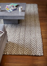 Brown, White & Cream Jute Rug  | Chunky Handmade Natural Fiber Rug
