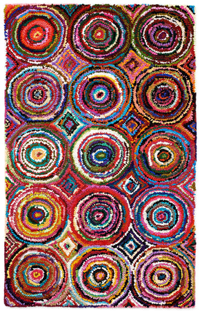 Colorful AMB1001 Tie-Dye Circle Natural Fiber Rug - Select Area Rugs