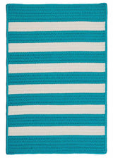 Stripe It TR49 Turquoise Indoor/Outdoor Rug by Colonial Mills