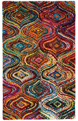 Colorful AMB1002 Tie-Dye Trellis Natural Fiber Rug