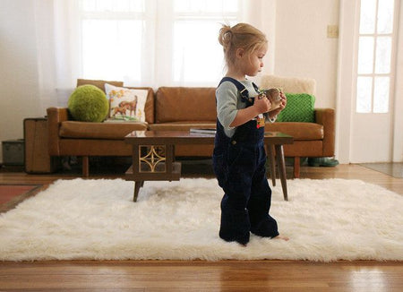 Fluffy Soft White Faux Sheepskin Area Rug - Select Area Rugs