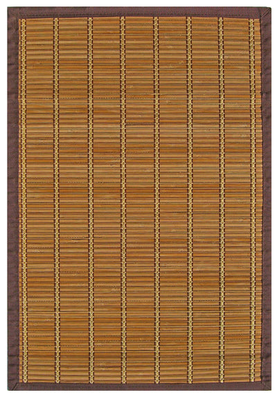 Handmade Bamboo Floor Mat With Brown Border | 6x9, 5x8, 4x6, 2x3