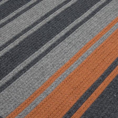 Frazada Stripe FZ29 Charcoal /Orange Braided Wool Rug by Colonial Mills - Select Area Rugs