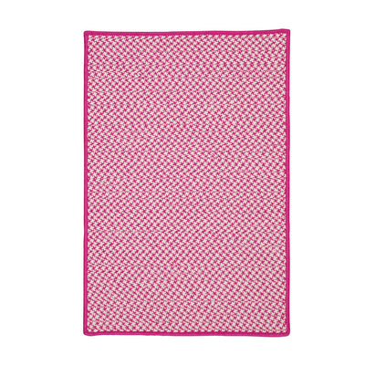 Outdoor Houndstooth Tweed OT78 Magenta Braided Rug by Colonial Mills