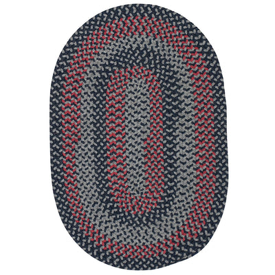 Walden WN53 Navy/Red Braided Wool Rug by Colonial Mills