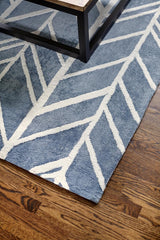Blue Viscose Rug With Cream Arrow Pattern - The Astralis Collection