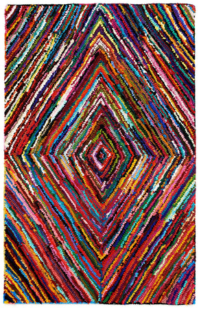 Colorful AMB1000 Tie-Dye Diamond Natural Fiber Rug - Select Area Rugs