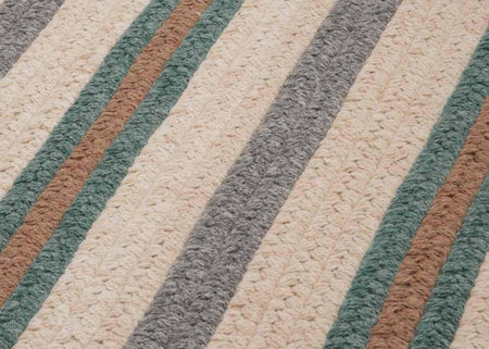 Cream, Gray, Brown & Teal Striped Braided Wool Rug | Limited Edition Polo Street Collection - Select Area Rugs