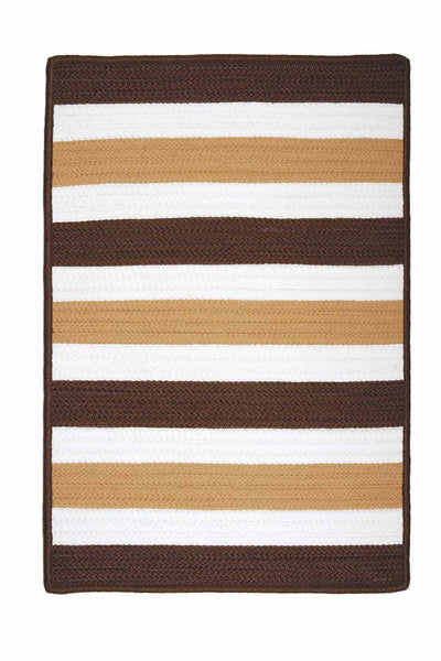 Portico PO89 Espresso Brown Braided Striped Outdoor Rug by Colonial Mills