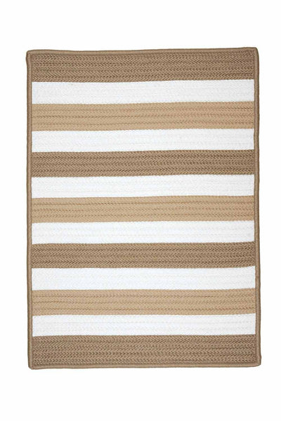 Portico PO99 Sand Braided Striped Outdoor Rug by Colonial Mills