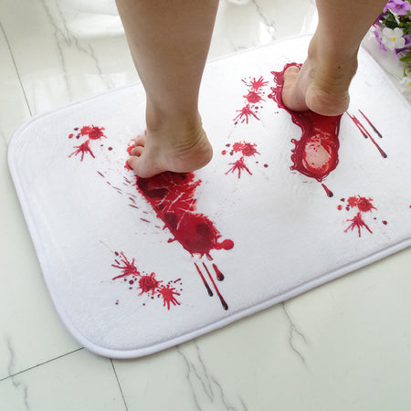 White Horror Movie Bath Mat With Bloody Footprints | Water Absorption Non-Slip Area Rug - Select Area Rugs