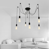 Vintage Nordic Spider Chandelier With Retro Pendant Light Fittings