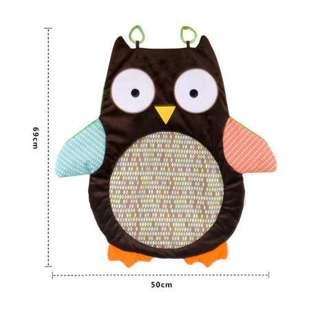 Brown Owl Shaped Baby Play Mat With Rattle, Sounds and Textures For 0-12 Months - Select Area Rugs