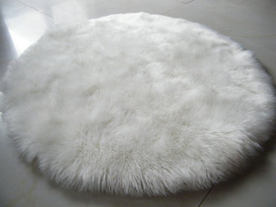 Round White Faux Sheepskin Rug | Super-Plush Rug by Select Area Rugs