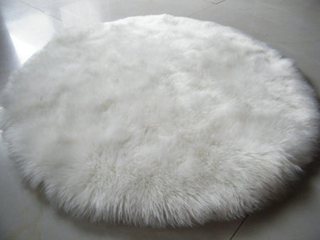 Round White Faux Sheepskin Rug | Super-Plush Rug by Select Area Rugs - Select Area Rugs