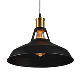 Vintage Edison Bare Bulb Pendant Light With Black Lampshade