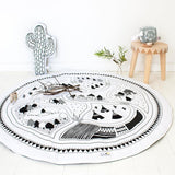 Round Black and White Padded Play Mat for Children | Cotton Anti Slip Area Rug