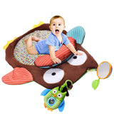 Brown Owl Shaped Baby Play Mat With Rattle, Sounds and Textures For 0-12 Months
