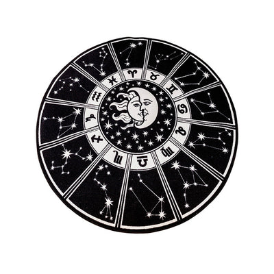 Round Zodiac Rug | 3.2ftx3.2ft Black and White Round Rug
