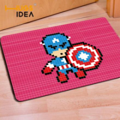 8-Bit Captain America Doormat | Marvel Pixel Art Area Rug