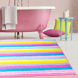 Bright Striped Chenille Bath Mat | Super Absorbent, Non-Slip, Machine Washable