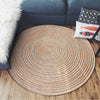 Round Cream Rope Weave Flannel Area Rug | Modern Chenille Braided Rug