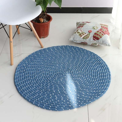 Round Blue Rope Weave Flannel Area Rug | Modern Chenille Braided Rug