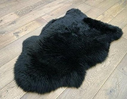 Black New Zealand Sheepskin Rug | 100% Real | Free Shipping & Money Back Guarantee - Select Area Rugs