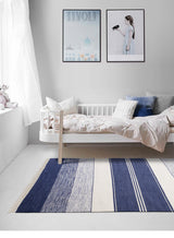 Handmade Navy Blue and Cream Striped Kilim Rug