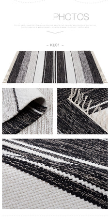 Handmade Black and White Striped Kilim Rug - Select Area Rugs