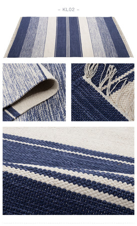 Handmade Navy Blue and Cream Striped Kilim Rug - Select Area Rugs