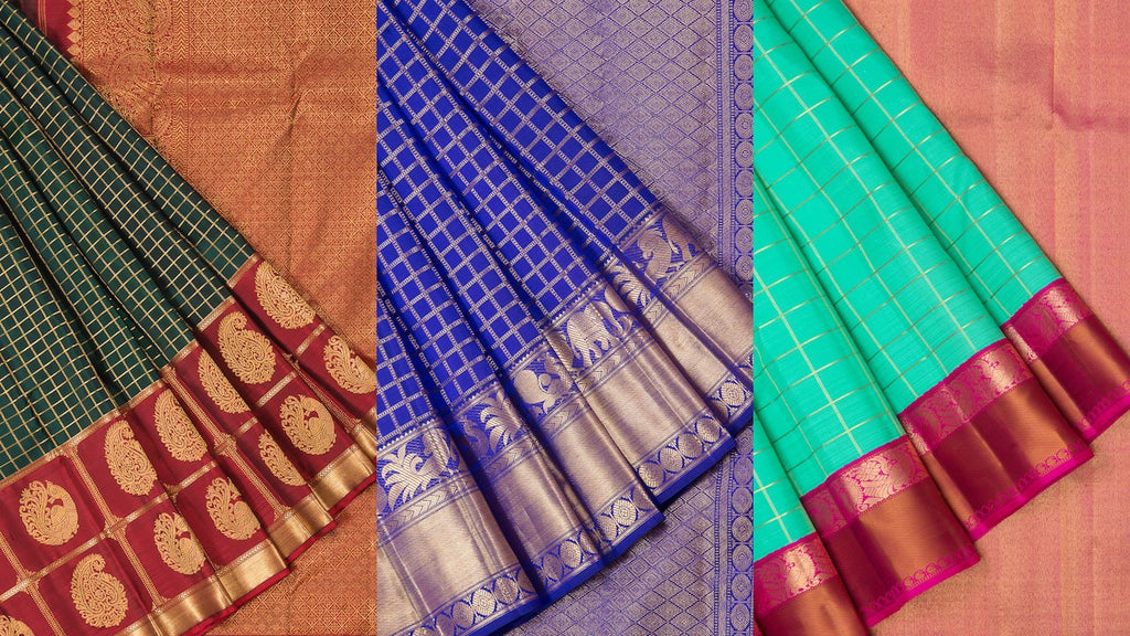 9 HAND-PICKED CHECKED KANJIVARAM SILK SAREES TO ROCK THIS SEASON