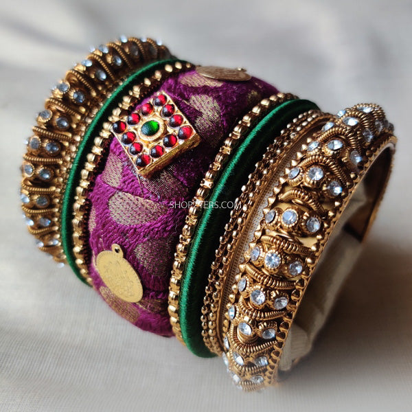 Brocade Fabric And Stone Bangles