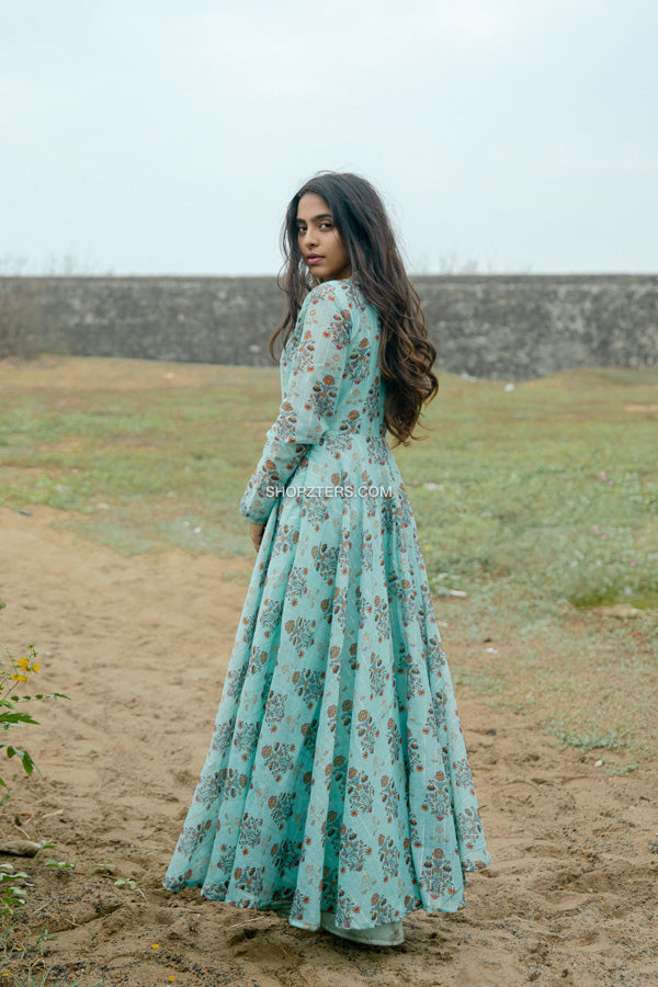 Sky Blue Chanderi Silk Maxi Dress