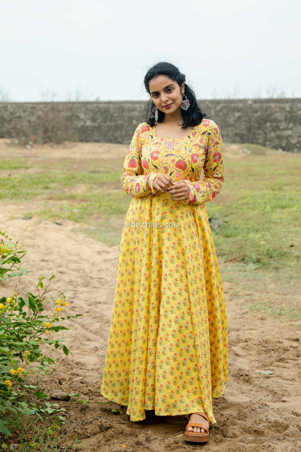 Yellow Floral Muslin Silk Dress