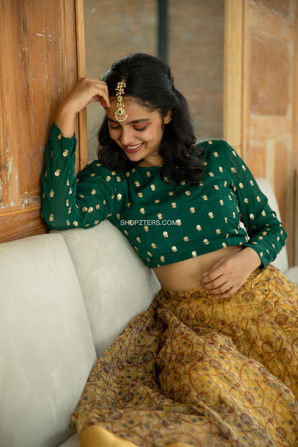 Green Crop Top With Organza Skirt