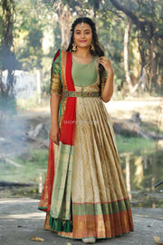 Cream Banarasi Silk Dress With Dupatta And Belt